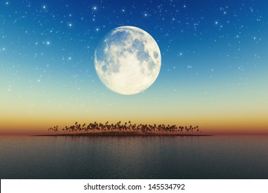 night sea landscape with beautiful coconut island with big full moon behind. Elements of this image furnished by NASA