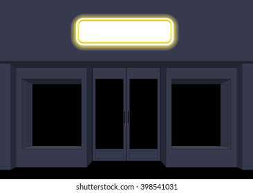 Night shop. Convenience store. Storefront at nighttime. Empty black counters. Shining sign on facade of store