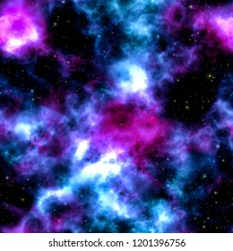 Night sky with bright blue red pink magenta colored nebula and stars seamless tiling