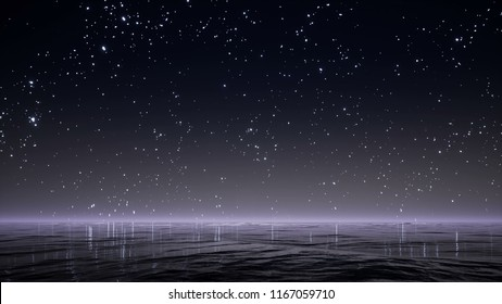 Night sky with bright stars and reflected in the ocean  3d render