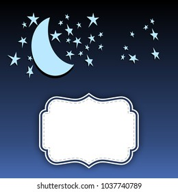 Night sky cartoon blue with stars and crescent moon