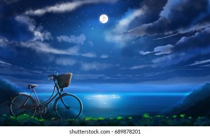 night sky full moon over moonlit water