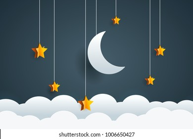 Night sky with moon and stars. Goodnight and sweet dream