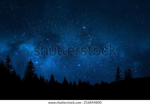 Night sky mountain landscape