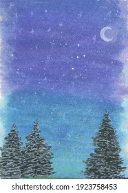 Night sky, Northern lights, watercolor, drawing, background, landscape, starry sky, winter