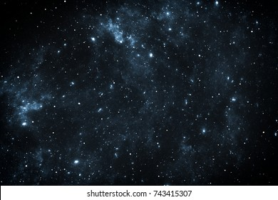 Night sky space background with nebula and stars, 3D illustration