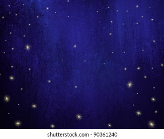 night sky with stars background illustration with dark vintage grunge texture with dark blue midnight coloring with twinkling lights or falling stars or snowflakes