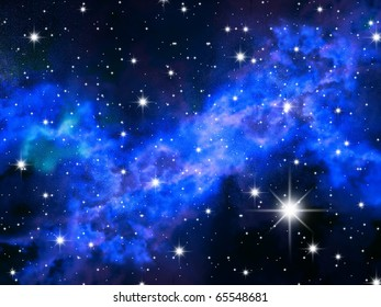 The night sky in stars and blue galaxies