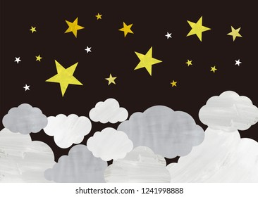night sky with stars and clowds