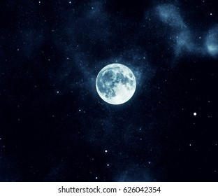 Night sky with stars and moon.
