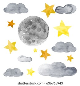Night sky with yellow stars, moon and blue clouds watercolor illustration set
