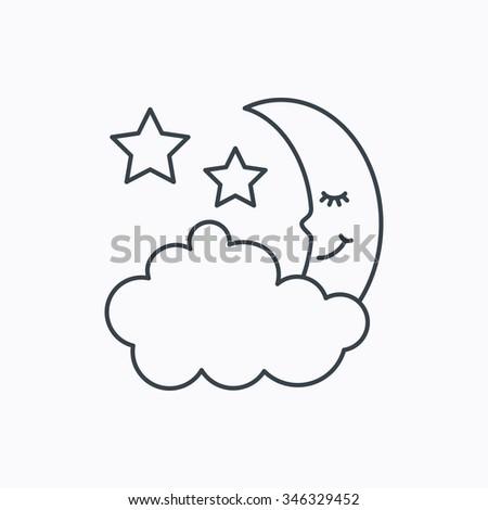 Night Sleep Icon Moon Stars Sign Stock Illustration 346329452