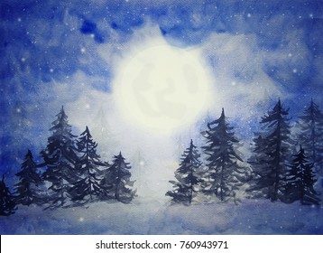 Night of snow fallen with moon and star in winter, watercolor painting on paper, design for holiday celibration background