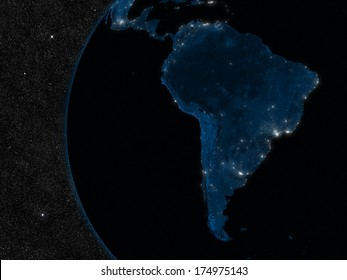 Night in South America with city lights viewed from space. Elements of this image furnished by NASA.