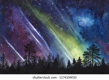 Night starry sky with aurora and forest silhouette - watercolor horizontally seamless illustration