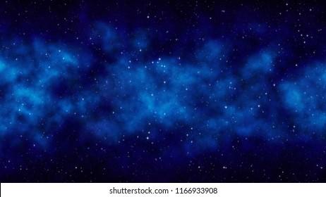 Night starry sky, blue space background with bright stars, nebula