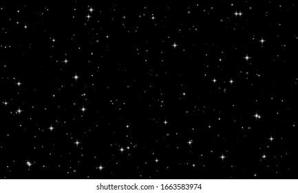 Night starry sky with bright stars. Stars on dark black background