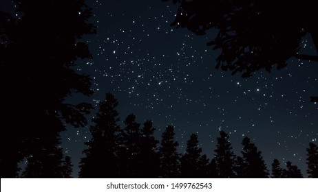 Night starry sky scene 3d render realistic. Glowing white stars and trees silhouettes tranquil scenery. Shining constellations on dark blue sky in forest. Peaceful nighttime landscape