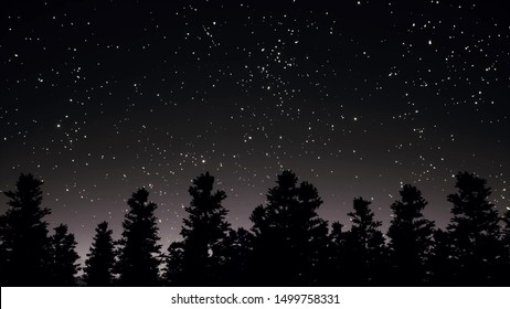 Night starry sky and trees silhouettes panorama 3d realistic footage. Glowing white stars beautiful scenery. Constellations on dark grey sky in forest. Peaceful nighttime landscape 3d render