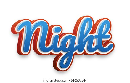 Night Text for Title or Headline. In 3D Fancy Fun and Futuristic style