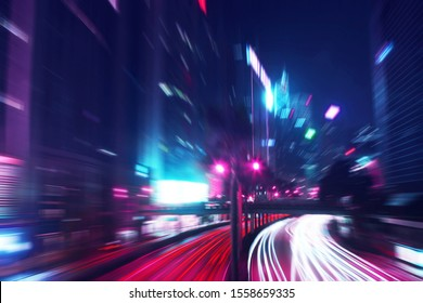 Night Time Car Trails in Hong Kong with a Zoom and Retro Outrun Color Effect