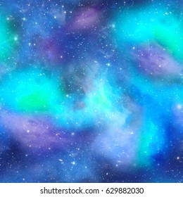 Night Time Galaxy Space Print  Digital Geo African Tribal Print in Purple Turquoise and White  Seamless Pattern in Repeat