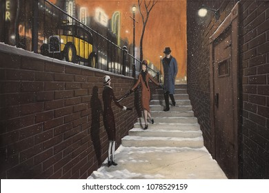 Night time vintage scene of three people entering a prohibition era speakeasy.  Two flappers and a fedora wearing man go into a night club while a yellow taxi sits on the street above.  1930s scene.