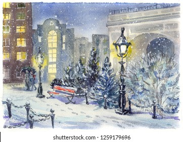 Night town park in the snow, empty bench, couple under umbrella and bright lights. Watercolour illustration for xmas street at europe city. Snowy pines and the roads swept by snow.