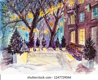 Night town street in the snow and bright lights. Watercolour illustration for xmas in europe city. Magic garland lights on trees, snowy pines and the roads swept by snow.