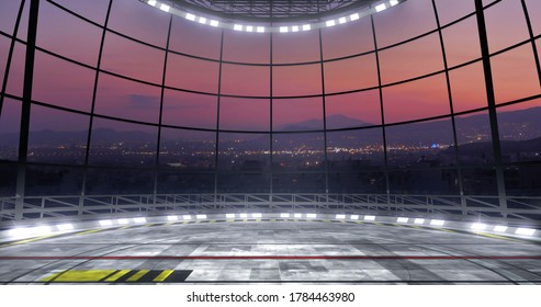 Night TV show VR backdrop with spotlights. Ideal for virtual tracking system sets, with green screen. (3D rendering)