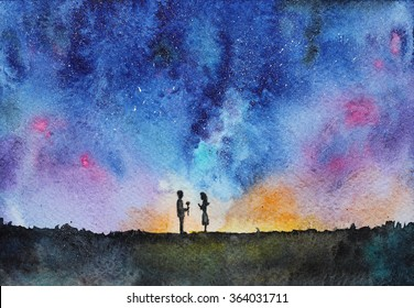 night view with couple: man giving a rose to girl, hand drawn watercolor
