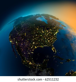 Night view of North America from the satellite to the glowing lights of towns on the sunrise from the east