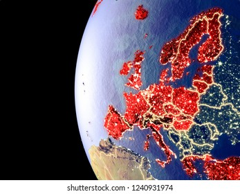 Night view of OECD European members from space with visible city lights. Very detailed plastic planet surface. 3D illustration. Elements of this image furnished by NASA.