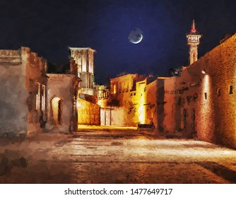 Night view of the streets of the old Arab city Dubai UAE. Computer graphics - oil painting style