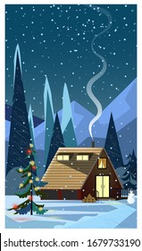 Night winter landscape with house and decorated fir-tree. Snowy country scene illustration. Christmas Eve concept. For websites, wallpapers, posters or banners.