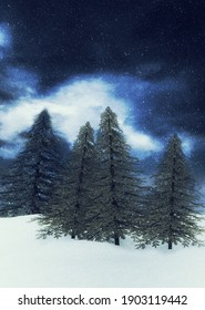 Night winter mountains and evergreen trees landscape during snowfall, 3d illustration.