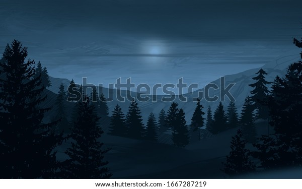 Night. Winter scenery. Wilderness. Snowy highlands. Canadian landscape. Forest. Pine trees. Handmade painting. Cold country. Digital art. 2d illustration.