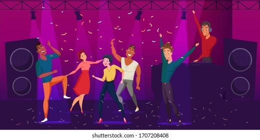 Nightclub discotheque color illustration. Group of young people dancing cartoon characters. Dance party, disco drawing. DJ stage performance. Men and women enjoying clubbing night. Raster copy