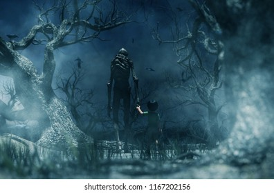 Nightmare with bogeyman, Boy being kidnapped by a mythical creature call bogeyman in creepy forest,3d illustration