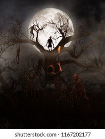 Nightmare tree,Woman discover a mythical creature call bogeyman in creepy forest,3d illustration for book illustration or book cover