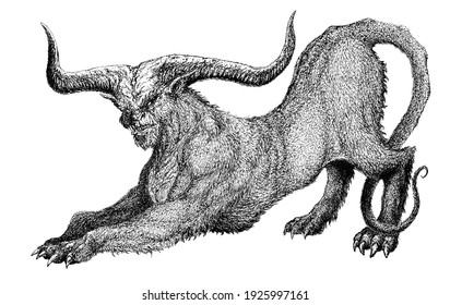 a nightmarish demon with a cat body and horns rises to attack