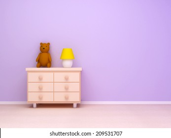 Nightstand with lamp and teddy bear. Pastel colors, empty room