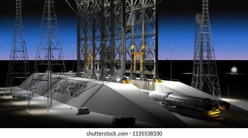 Night-time Scene of Spacecraft Delivery at Launchpad - 3D Illustration