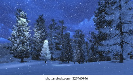Nighttime winter scene with snowy pine forest high in mountains at snowfall. Realistic 3D illustration was done from my own 3D rendering file.