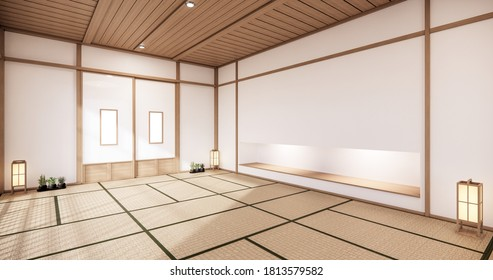 Nihon room design interior with door paper and cabinet shelf wall on tatami mat floor room japanese style. 3D rendering