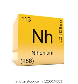 Nihonium chemical element symbol from the periodic table displayed on glossy yellow cube 3D render