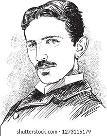 Nikola Tesla (1856-1943) portrait in line art illustration. Tesla was a Serbian-American inventor, electrical and mechanical engineer, futurist.