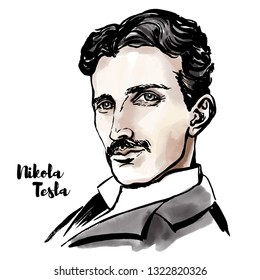 Nikola Tesla watercolor portrait with ink contours. Serbian-American inventor, electrical engineer, mechanical engineer, physicist, and futurist.