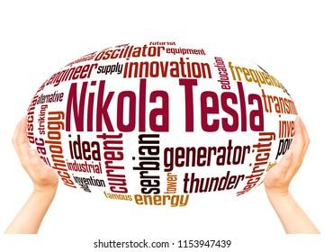 Nikola Tesla word cloud sphere concept on white background.
