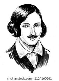 Nikolai Gogol. Russian writer. Ink black and white illustration